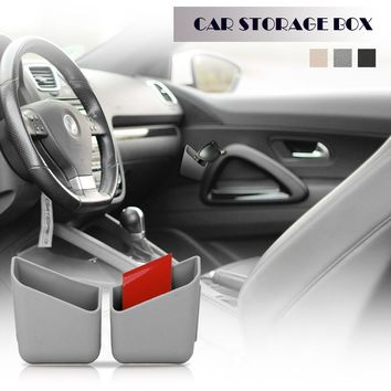 2pcs Universal Mini Car Phone Holder Cigarette Card Storage Box Stick-on Organizer for Small Objects