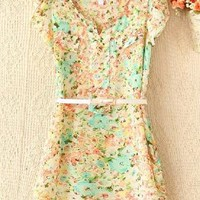 Floral Chiffon Dress with Belt