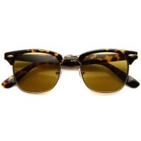 Classic Iconic Style Half Frame Horn Rimmed Sunglasses (Tortoise/Brown)
