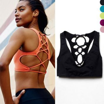 NEW fashion sexy lace up type backless sports yoga bra underwear Candy color