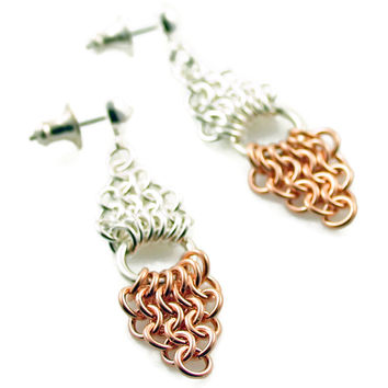 Mix Metals for a Modern Touch Rose Gold and Sterling Silver Mesh Earrings