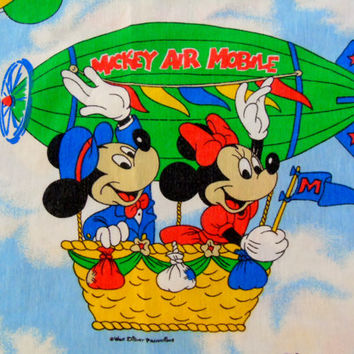 Disney Mickey Mouse Air Mobile, Vintage 80s Walt Disney Productions, Flat Twin Sheet Fabric ,Minnie Mouse Dumbo Goofy Donald Duck Pluto