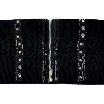 Black Zipper Waist Cincher Stud Belt