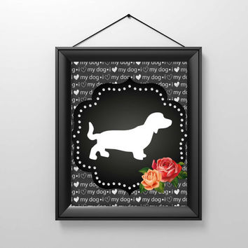 Dachshund Printable Art, I Love My Dog Print, Instant Digital Download, Wall art, Dog art, Weiner Dog, Downloadable, Chalkboard Sign