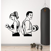 Vinyl Wall Decal Woman Man Iron Sport Fitness Gym Sports Couple Healthy Stickers Mural (g1116)
