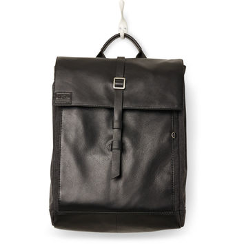 TOMS black leather canvas caravan backpack