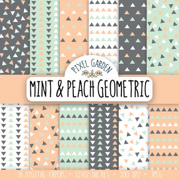 Mint Geometric Digital Paper Pack, Geometric Scrapbooking Paper, Digital Clip Art, Peach Printable Paper.
