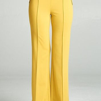 Buckle Detail High Waist Pants