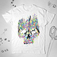 Punk Skull Illustration Colorful Men Women Shirt Top Tee