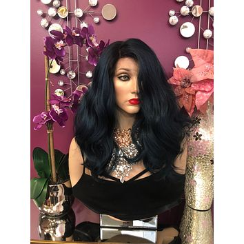 """Blue Ombre' Curly Hair Lace Front Wig 10-12"""" Layered Adah  0119 10"""