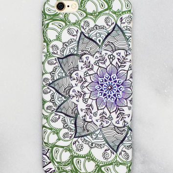 Green Floral Print iPhone Case