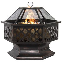 BCP Hex Shaped Fire Pit Outdoor Home Garden Backyard Firepit Bowl Fireplace - Walmart.com
