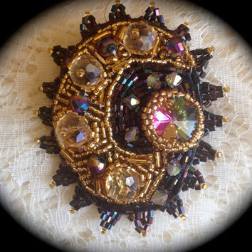 ON SALE Bead Embroidered Brooch, Crystals, Rivoli, Black and Gold