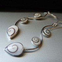 Sterling Silver Shiva Eye Shell Vine Earrings - Nomadic Ant