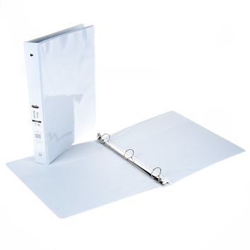 """1"""" View Binder with Inner Pockets - White - CASE OF 12"""
