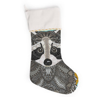 "Art Love Passion ""Racoon in Grass"" Gray Teal Christmas Stocking"