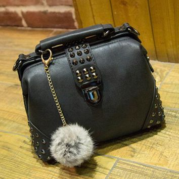 female casual crossbody bag women messenger bags chic handbag womens fashion retro leather shoulder bag with fur tail necklace  number 1