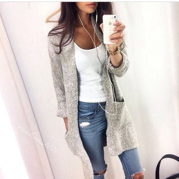 LOOSE LONG-SLEEVED KNIT CARDIGAN SWEATER JACKET