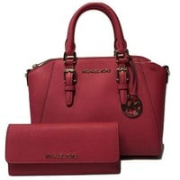 Michael Kors Ciara Md Messenger Handbag Bundled With Michael Kors Jet Set Travel Flat Wallet
