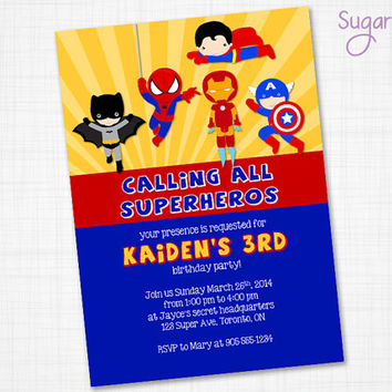 Superhero Birthday Invitation, Superhero Party Invitation, Superhero Invitation, Super Hero Birthday Invitation, Superhero Invitation