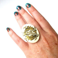 Pisces., The Fish. Vintage Zodiac Cocktail Ring