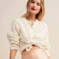 Mohair Cardigan Sweater Women's New Ins Autumn Women's Loose Single Breasted Cutout Sweater