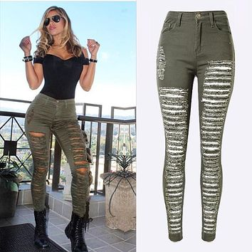 Fashion Army Green/Black/White Sexy Ripped Jeans Women Plus Size Distressed High Waist Jeans Ladies Skinny Jean Taille Haute