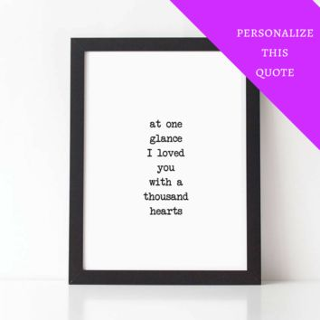 At One Glance I Loved You, Poetry Love Quote Print