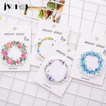 JWHCJ 1pcs beautiful wreath shape memo pad paper Post-it note sticky note notepad stationery papeleria school supplies kids gift