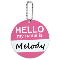 Melody Hello My Name Is Round ID Card Luggage Tag