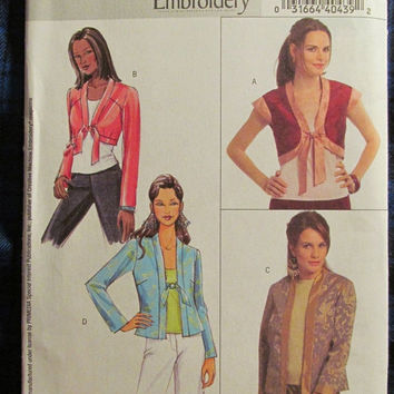 SALE Uncut Butterick Sewing Patterns, 4740! 8-10-12-14 Small/Medium/Women's/Misses, Bolero/Jackets/Coats/Smock/Cardigan