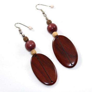 Large Rosewood Paddle and Bead Wood Earrings - Natural Artist