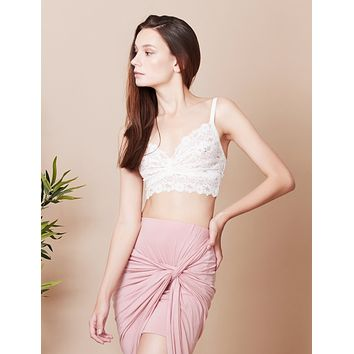LE3NO Womens Sheer Lace Bralette with Stretch