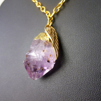 Handmade Raw Amethyst Necklace with Angel Wing Charm - One of a Kind Mineral Jewelry, Boho
