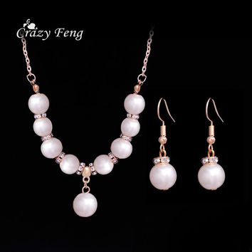 Crazy Feng 2017 Luxury Simulated Pearl Beads Necklace Earrings Set For Women Fashion Clear Austrian Crystal Costume Jewelry Sets