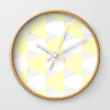 Yellow White Marble Triangles Wall Clock by ARTbyJWP