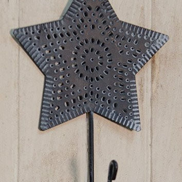 Punched Antique Tin Star Hook