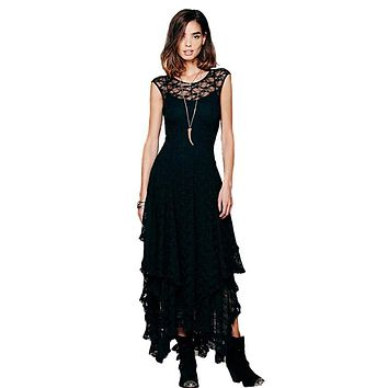 Summer Boho People hippie Style Asymmetrical embroidery Sheer lace dresses double layered ruffled trimming low V back