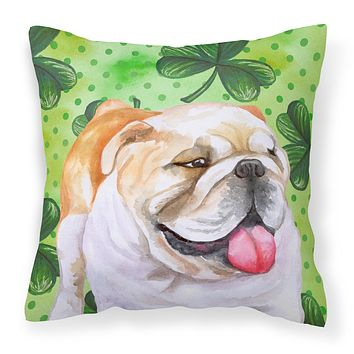 English Bulldog St Patrick's Fabric Decorative Pillow BB9813PW1414