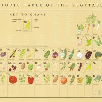 Periodic Table of the Vegetables Educational Food Poster