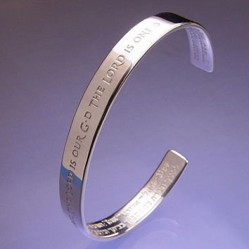 Shema Yisrael Prayer Hebrew English Silver Cuff