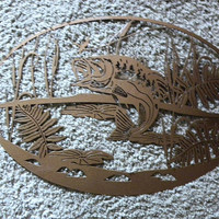 "Bass Fish Jumping Oval Scene 23"" Home Decor Metal Wall Art"