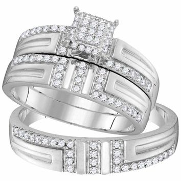 10kt White Gold His & Hers Round Diamond Cluster Matching Bridal Wedding Ring Band Set 1-2 Cttw - FREE Shipping (US/CAN)