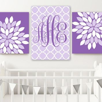 Purple Lavender Monogram Nursery Wall Decor, Purple Monogram Bedroom Wall Art, Baby Girl Flower Monogram Nursery Set of 3 Canvas or Print