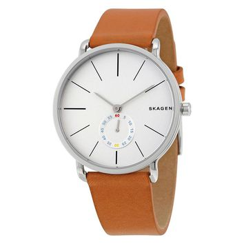 Skagen Hagen White Dial Tan Leather Strap Mens Watch SKW6215