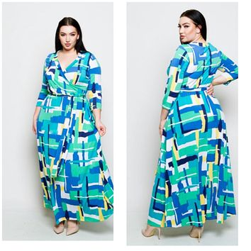 New Plus Size Spring Faux Wrap Maxi Dress 1X