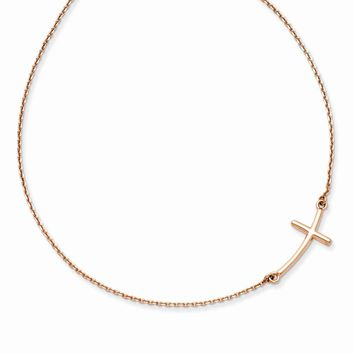 14k Rose Gold Large Sideways Curved Cross Necklace
