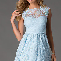Short Cap Sleeve Lace Dress by Morgan and Company