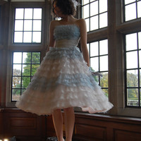 Original vintage 1950s American ruffle prom dress blue white lace and nylon strapless withbow and lace bolero great condition small