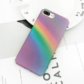 Gradient Rainbow Phone Case For iphone 7 6 6S Plus Case Colorful Abstract Art Painted Back Cover For iphone 6 Cases Fundas
